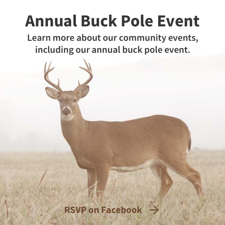 Annual Buck Pole Event - Deer in field - RSVP on Facebook