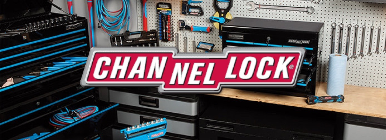 Channellock logo with hand tools and tool boxes