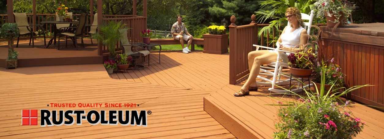 Woman sitting on deck with Rust-Oleum logo