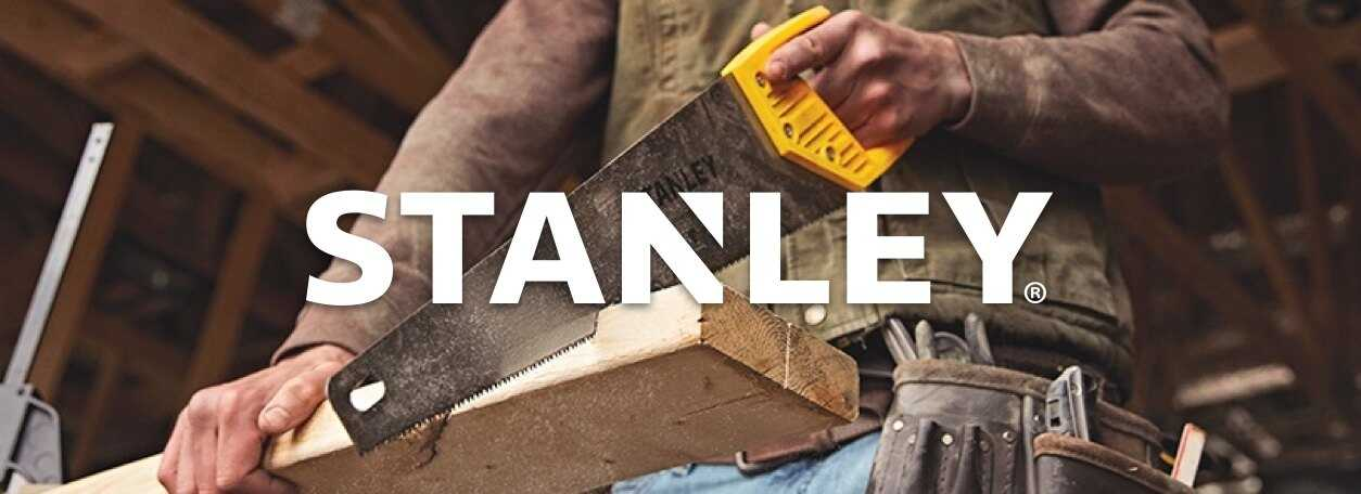 Stanley logo with hand saw cutting lumber in background