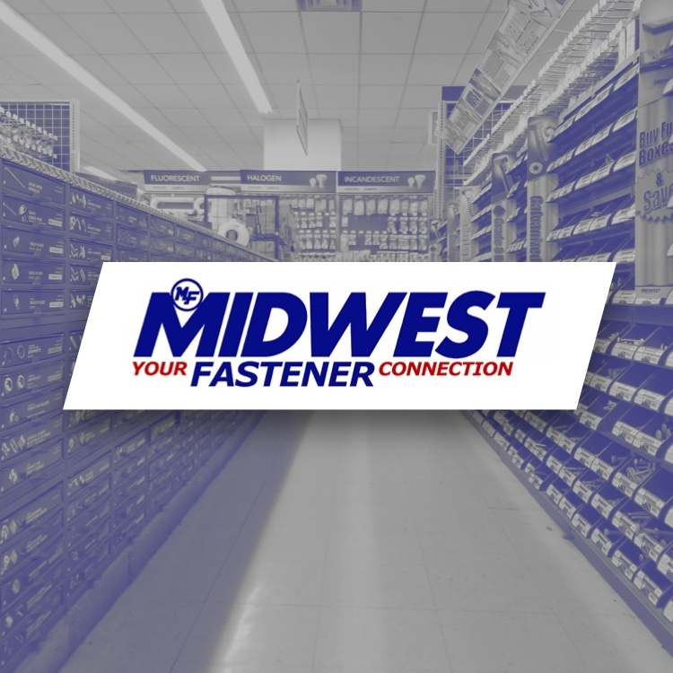 Midwest Fastener logo with aisle of fasteners - Your Fastener Connection