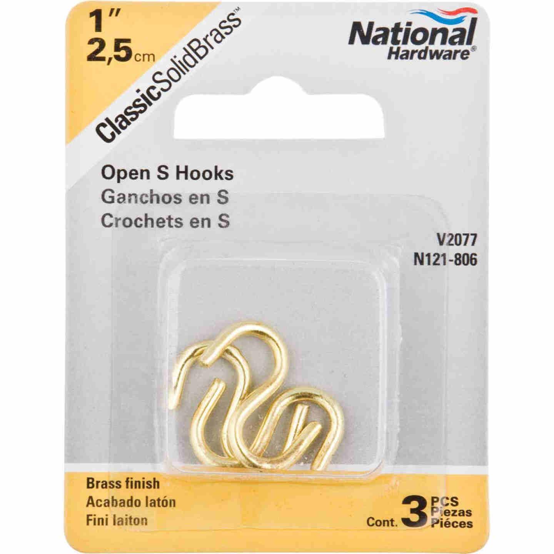 National 1 In. Brass Heavy Open S Hook (3 Ct.) Image 2