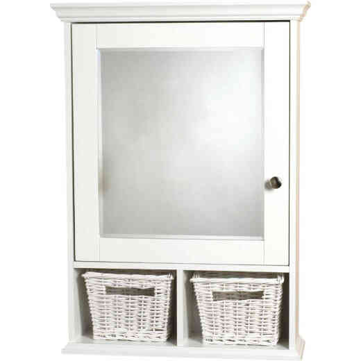 Zenith White 21 In. W x 29 In. H x 6-1/2 In. D Single Mirror Surface Mount Medicine Cabinet with Baskets