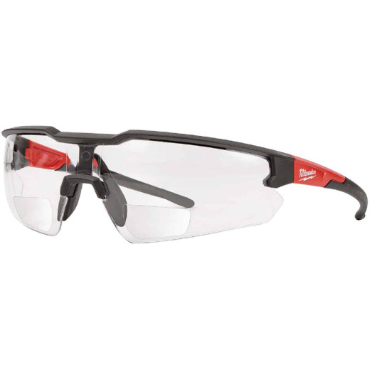 Milwaukee Red & Black Frame Safety Glasses with +1.50 Magnified Clear Anti-Scratch Lenses