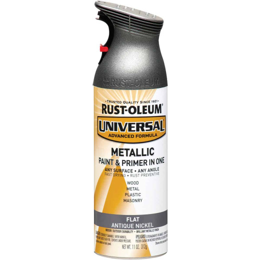 Rust-Oleum Universal 11 Oz. Metallic Flat All-Surface Spray Paint & Primer In One, Antique Nickel