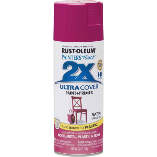 Rust-Oleum Painter's Touch 2X Ultra Cover 12 Oz. Satin Paint + Primer Spray Paint, Magenta