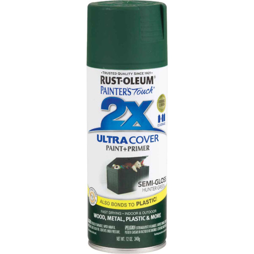 Rust-Oleum Painter's Touch 2X Ultra Cover 12 Oz. Semi-Gloss Paint + Primer Spray Paint, Hunter Green