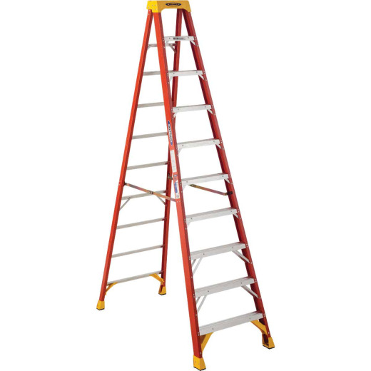 Werner 10 Ft. Fiberglass Step Ladder with 300 Lb. Load Capacity Type IA Ladder Rating